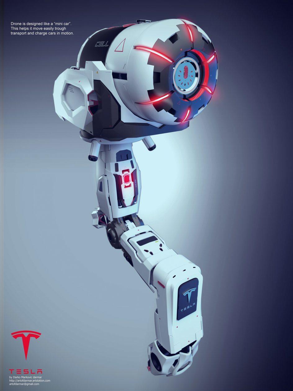 Imagen del dron que cargaría los Tesla